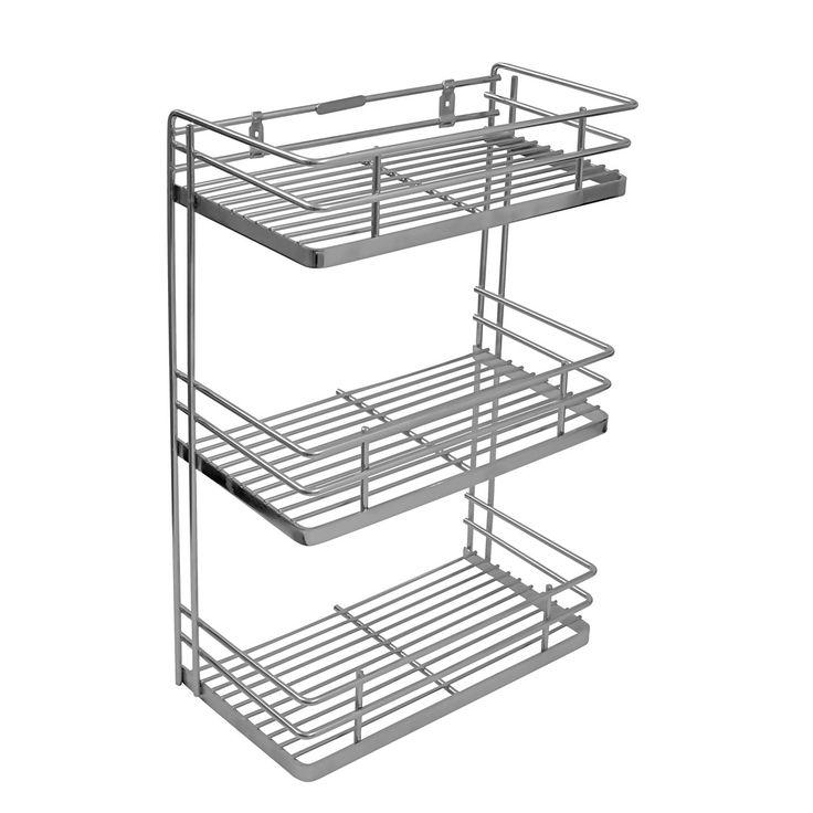 Perdiem Triple Front Shelf Spice Rack - Kitchen Basket - 6 Inch - SS