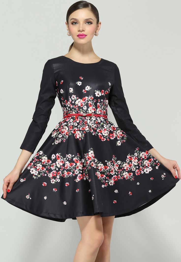 Black Long Sleeve Floral Ruffle Dress $58.5