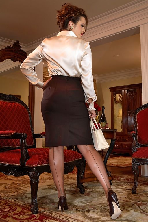 Brown Pencil Skirt Ivory Satin Blouse Sheer Brown Back