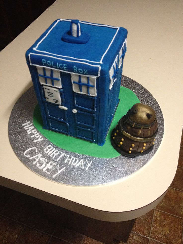Dr Who Cake - Tardis and Dalek.  Made by Becs Custom Creations on Facebook. Check it out to see my other cake creations.