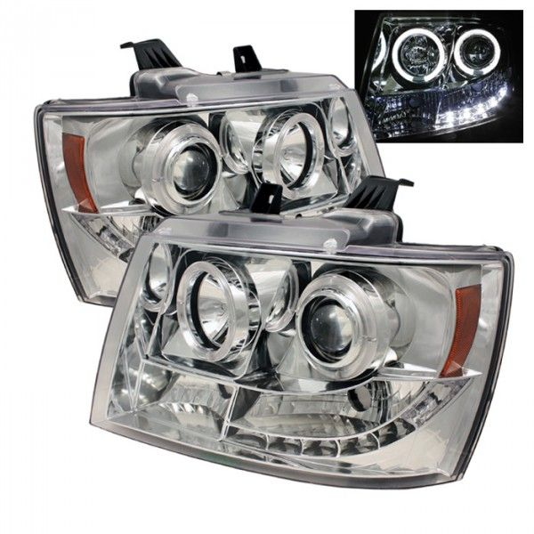 2007 Chevy Avalanche Chrome/Clear Halo LED Projector Headlights for SUV/Truck/Crossover - Spyder - (pair)