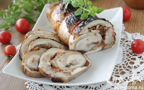 Куриный рулет с черносливом и грецким орехом | Кулинарные рецепты от «Едим дома!»
