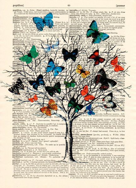 Original prints – Gift for MOM Butterfly tree of life art prints – a unique product by Dictionary-vintage-book-page on DaWanda
