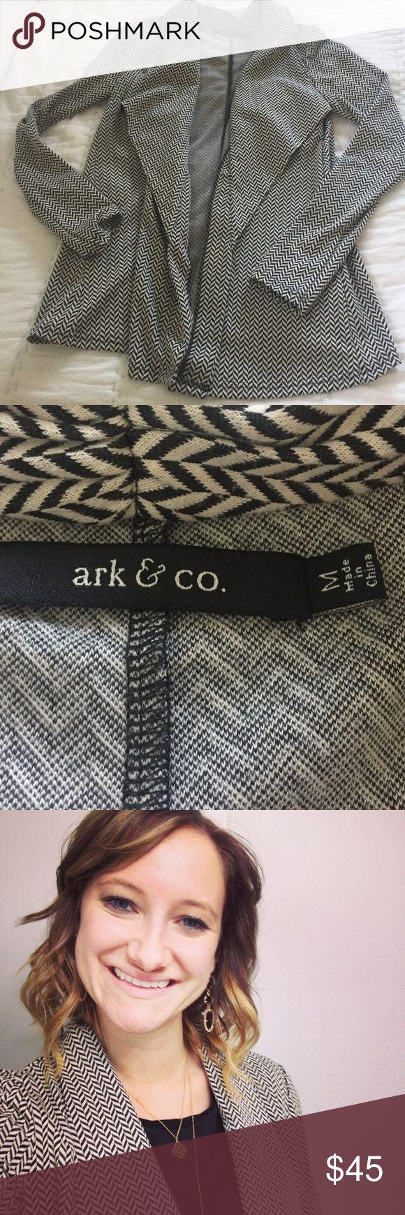 Herringbone Waterfall Blazer Excellent condition tan + black blazer.  Waterfall front so it drapes nicely.  Lightweight. Ark & Co Jackets & Coats Blazers