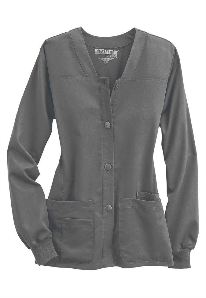 Greys Anatomy button-front v-neck scrub jacket | Scrubs & Beyond