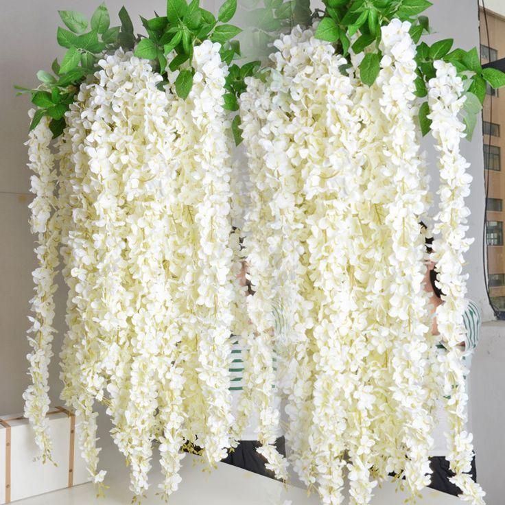 Goedkope 1.6m artificiële wisteria rotan bloem zijden bloemen wijnstokken slingers voor bruiloft decoraties thuis ornament partij centerpieces, koop Kwaliteit Decoratieve bloemen& kransen rechtstreeks van Leveranciers van China: kunstmatige rotan bloem blauwe regenStaat: gloednieuweMaterialen: stof en kunststoffenLengte: app.160cm/63 c
