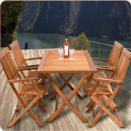 199€ Sitzgruppe 5tlg SYDNEY Sitzgarnitur Gartengarnitur Holz 4 Stühle 1 Tisch: Amazon.de: Garten