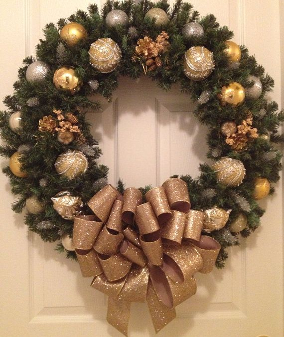 XL/ 30 Gold and Silver Christmas wreath by Enywear on Etsy, $78.50