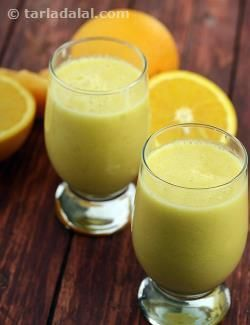 Soothing muskmelon is a contrast to vivid pineapples, but with the balancing touch of oranges, the duo results in an irresistible pineapple and orange smoothie! use the readymade juices as suggested in the recipe, as fresh orange juice might be too sour and fresh pineapple juice too thick.