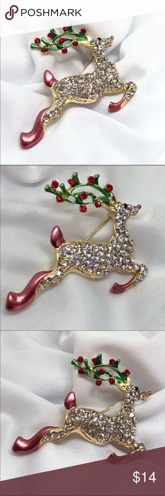 """🆕Gold & Rhinestone Rudolph Reindeer Pin A festive 2"""" x 1 3/4"""" gold and rhinestone Rudolph pin, complete with bright red node and festive enamel lights in his antlers! Very bright and sparkly; a challenge to capture in photos because it's so bright! A perfect addition to your jacket for the Holidays! Who doesn't love our underdog hero Rudolph? Jewelry Brooches"""