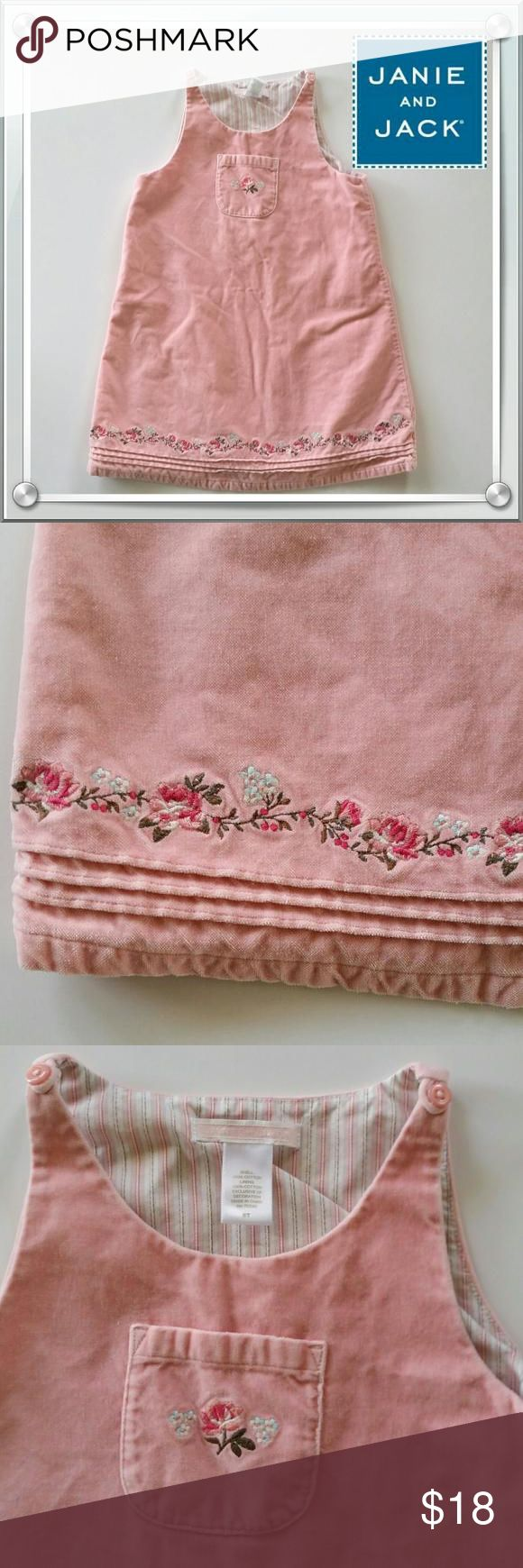 Janie and Jack soft pink jumper Pink jumper with such soft material and beautiful embroidered flowers on front pocket and along hem. Janie and Jack Dresses