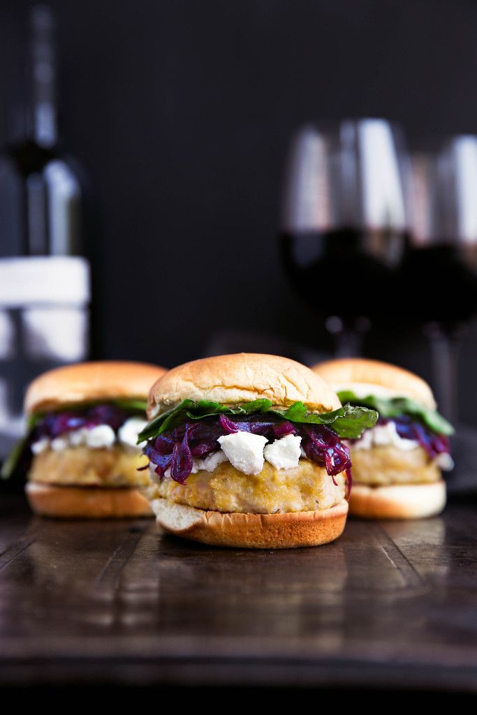 Rosemary Turkey Sliders with Red Wine Caramelized Onions and Goat Cheese