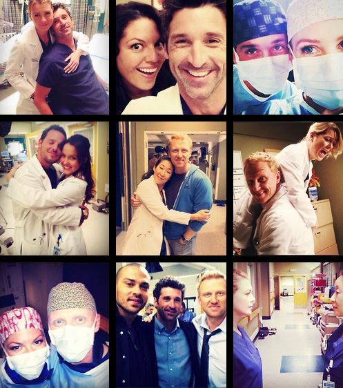 Behind the scene pics of the grey's anatomy cast