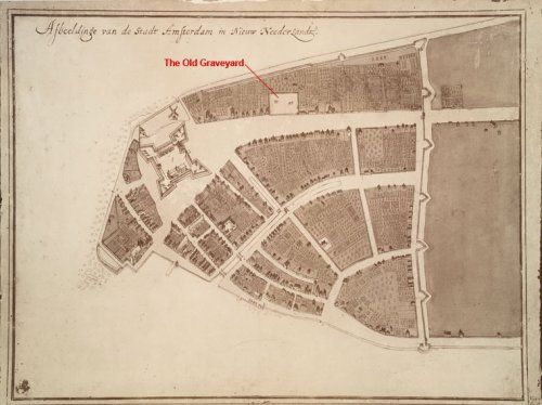 The Old Graveyard shown on the Castello Plan of New Amsterdam in 1660