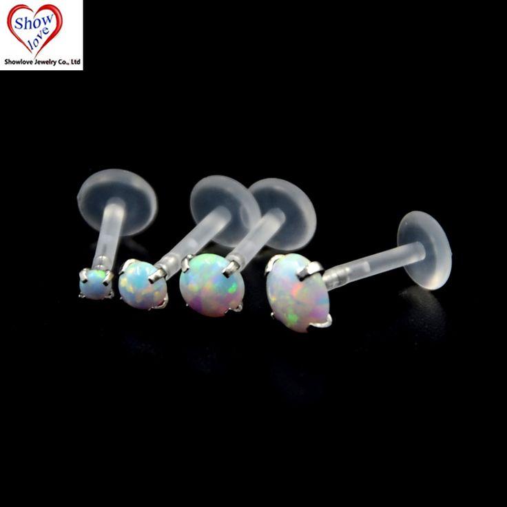 Showlove-1pcs Berkilau Prong set Opal Gem Cartilage Tragus Labret Monroe Lip Ring Piercing Bioplastik Fleksibel Bar Perhiasan Tubuh