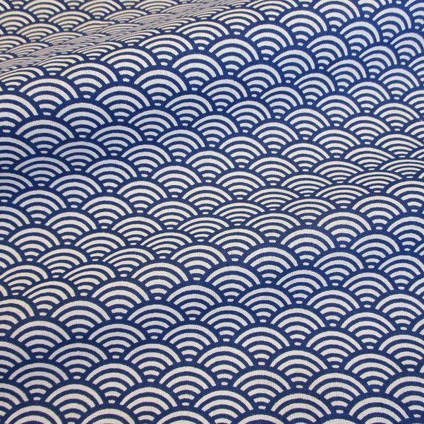 Weiteres - Stoff Baumwolle Japan Seigaiha Wellen blau weiß - ein Designerstück von werthers-stoffe bei DaWanda