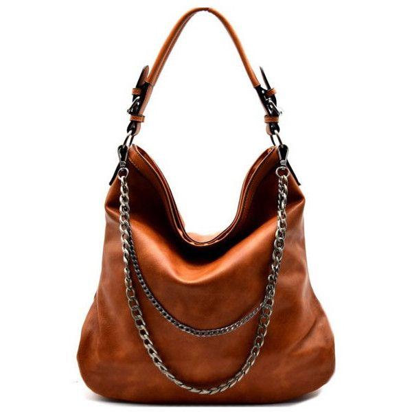 Brown Regan Hobo Handbag (€58) ❤ liked on Polyvore featuring bags, handbags, shoulder bags, man bag, hobo shoulder handbags, hobo purses, hobo handbags and chain strap handbag
