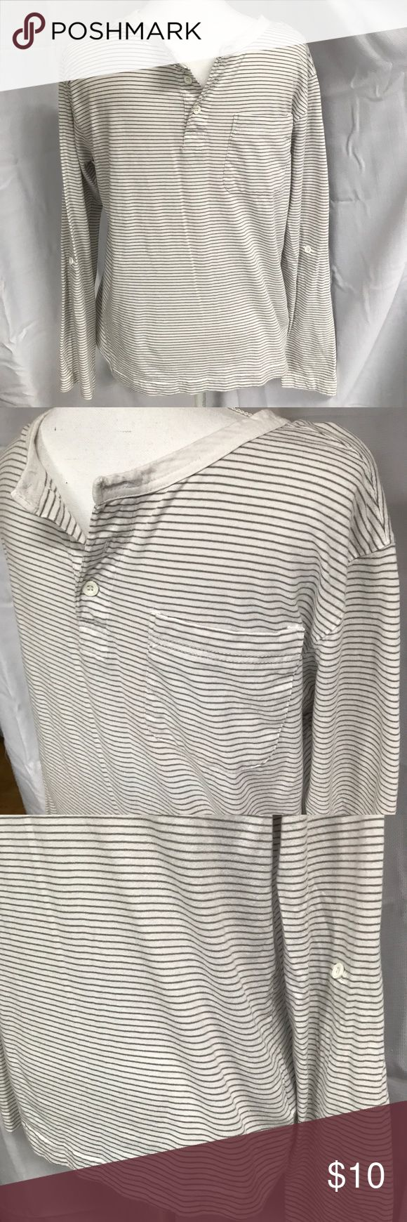 Men's gray and white striped henley tee A striped long sleeve henley tee. Made of 60% cotton and 40% polyester. Price is negotiable. Counter Intelligence Shirts Tees - Long Sleeve