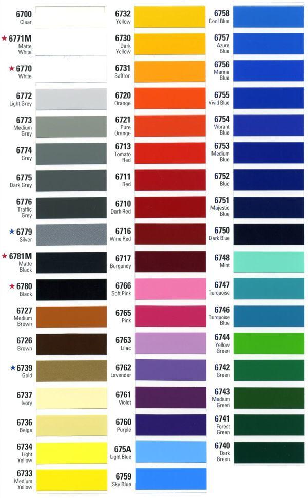 Vinyl decals Color Chart
