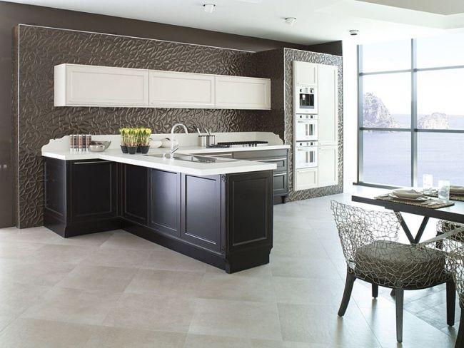 Klassische Linien Schwarz Weiß Küche Rückwand Textur