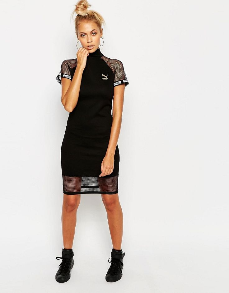 Image 4 ofPuma Black Bodycon High Neck Dress With Mesh Inserts