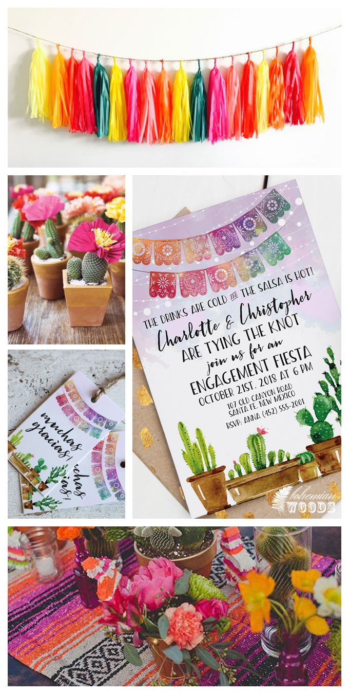 Vibrant Fiesta-inspired invitations, perfect for any engagement party, fiesta bridal shower, or fiesta rehearsal dinner. Papel picado and a watercolor cactus motif are featured. Let Bohemian Woods help create your next celebration!