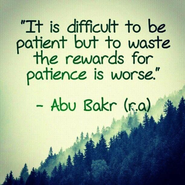 """""""It is difficult to be patient but to waste the rewards for patience is worse."""" -- Abu Bakar (r.a)"""