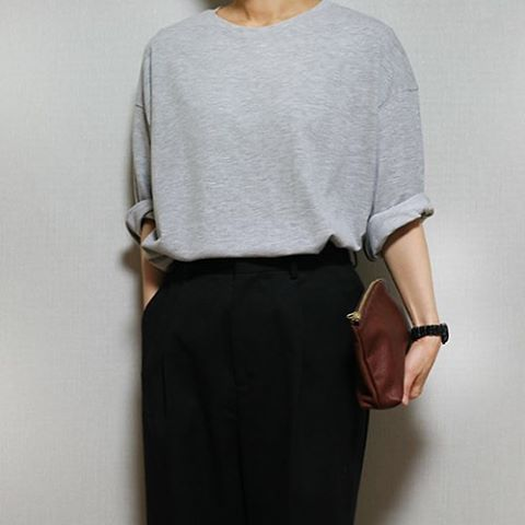 Grey sweater + American Apparel clutch