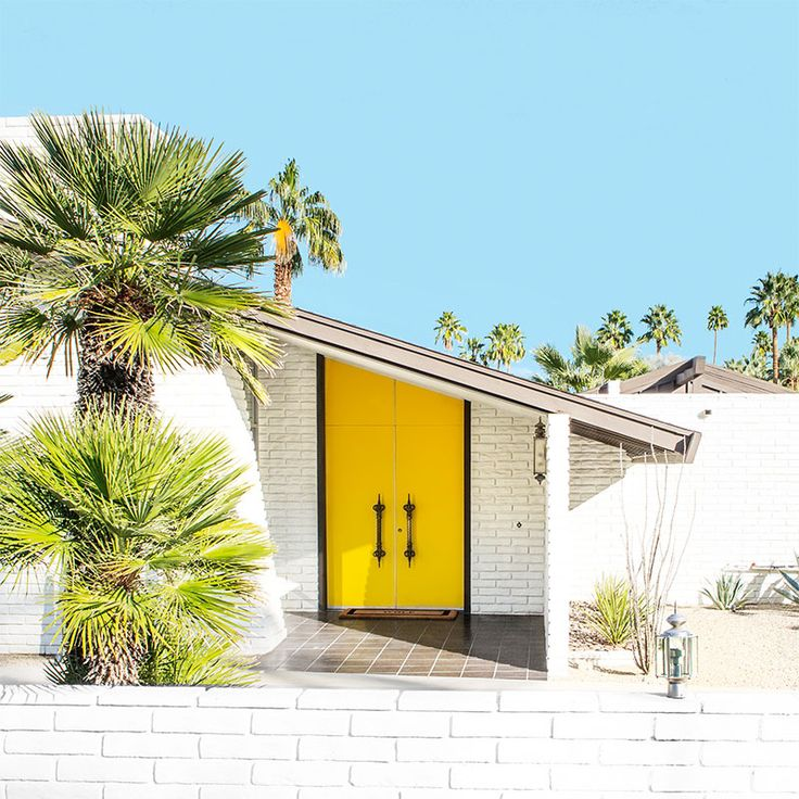 Palm Springs mid century yellow door