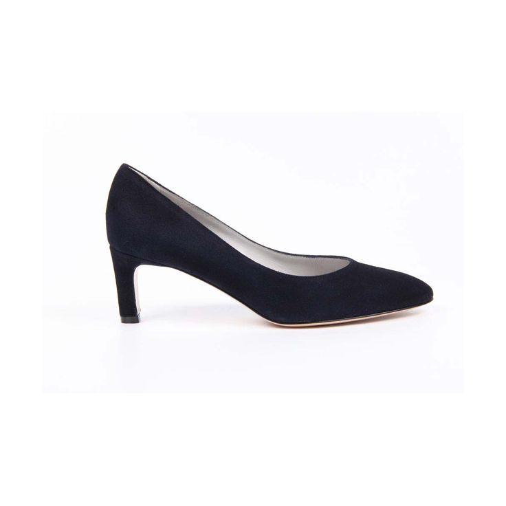 Versace 19.69 Abbigliamento Sportivo Srl Milano Italia Womens Kitten Heel Pump 5517-LAU55 PE CA15BL CAMOSCIO BLU