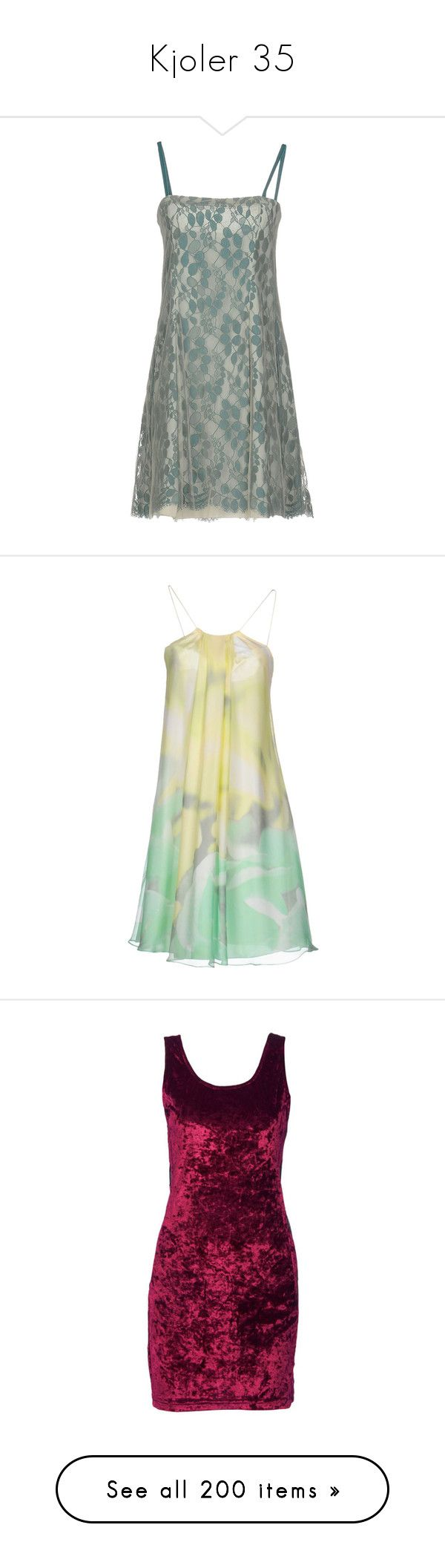 """Kjoler 35"" by sissesofiemark ❤ liked on Polyvore featuring dresses, deep jade, short green dress, short lace dress, green dress, print dress, green sleeveless dress, light yellow, short chiffon dress and trapeze dress"