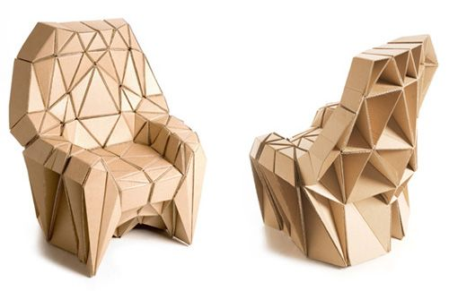 Richard Sweeney created this cardboard armchair and sofa in collaboration with Liam Hopkins.