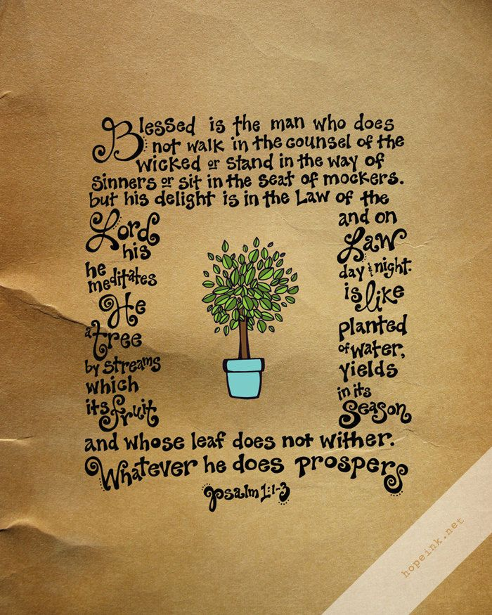 Scripture Art Print Like A Tree Psalm 1 Hand Lettered by hopeink, $34.00