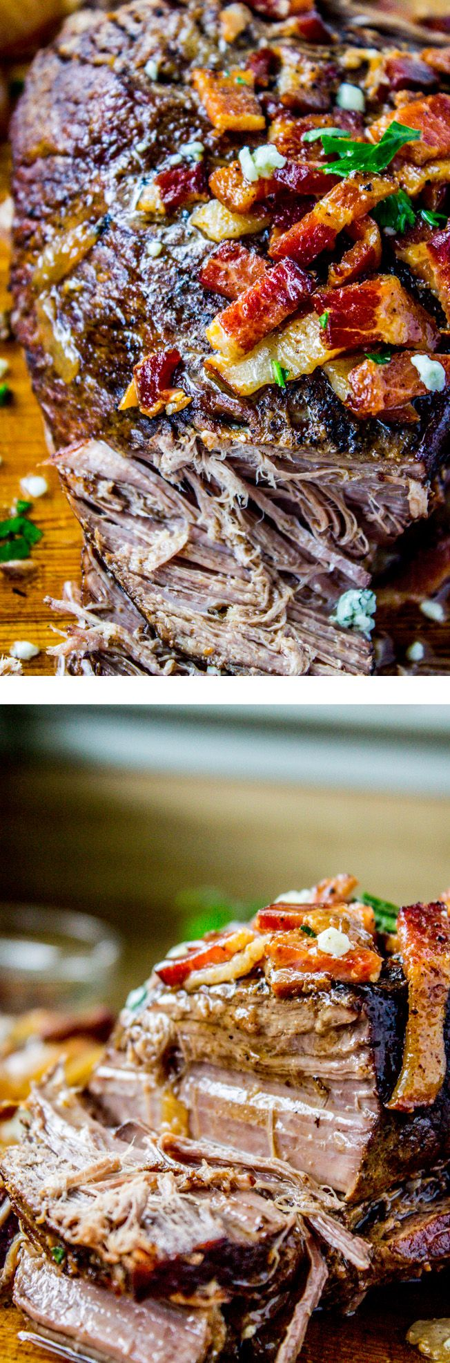 Bacon Blue Cheese Brisket (Crock pot!) from The Food Charlatan // Slow cook your way to bacon-y, brisket-y happiness. Makes for a great weeknight dinner but is fancy enough for company too!: