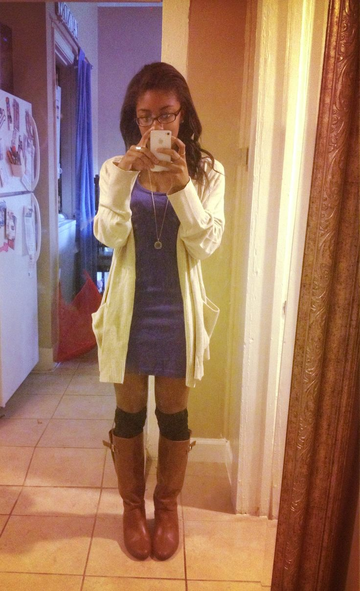 Over-the-knee socks, dress, cardigan