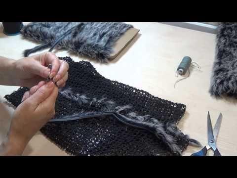 Вязание мехом по сетке - YouTube