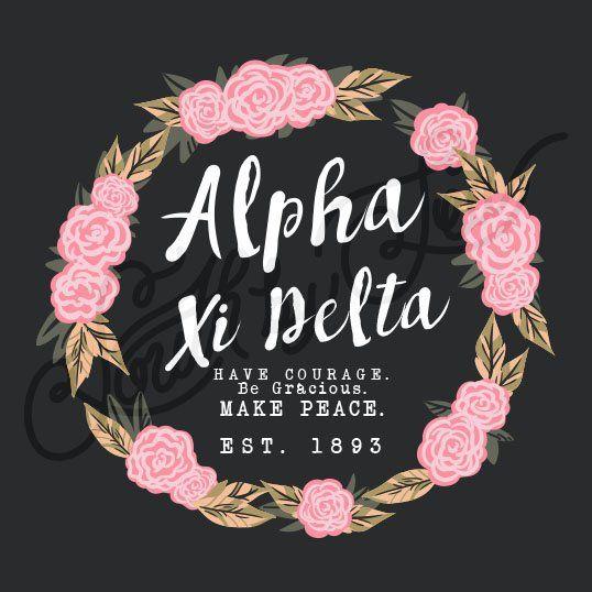 Sorority Recruitment Alpha Xi Detla Rose Floral Flower Wreath South By Sea