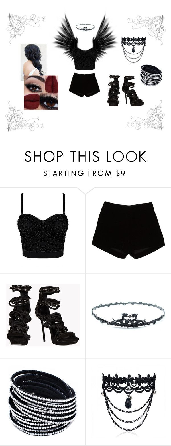 """Dark Angel Costume"" by linneabowers ❤ liked on Polyvore featuring Masquerade, Andrew Gn and Dsquared2"