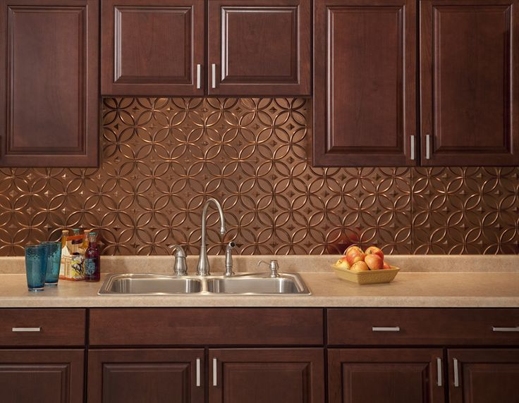i think this is a little too much brown together but i do like the design of the backsplash stunning copper backsplash for modern kitchens