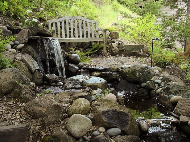 Oh i wish backyard river rock water feature for Rock ponds designs
