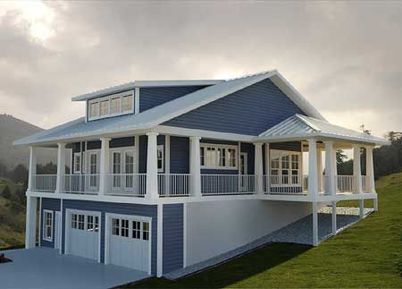 Getaway with Wraparound Views - 18233BE | Cottage, Vacation, Exclusive, Narrow Lot, 1st Floor Master Suite, CAD Available, PDF, Wrap Around Porch, Sloping Lot | Architectural Designs