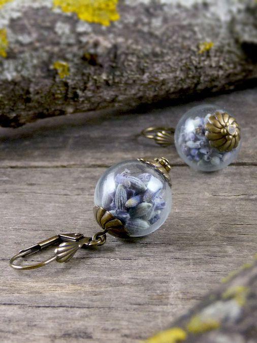 Real lavender earrings, Dried lavender seeds earrings, Nature earrings Purple earrings, Antique brass earrings, Glass vial earrings