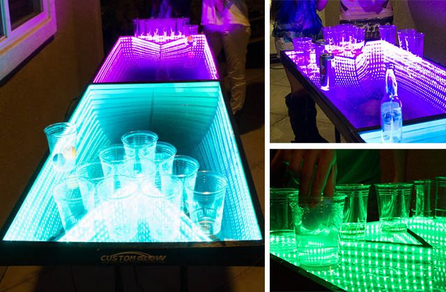This Trippy Custom Beer Pong Table with Infinity Mirrors and LED Lights Is a Party Game Changer
