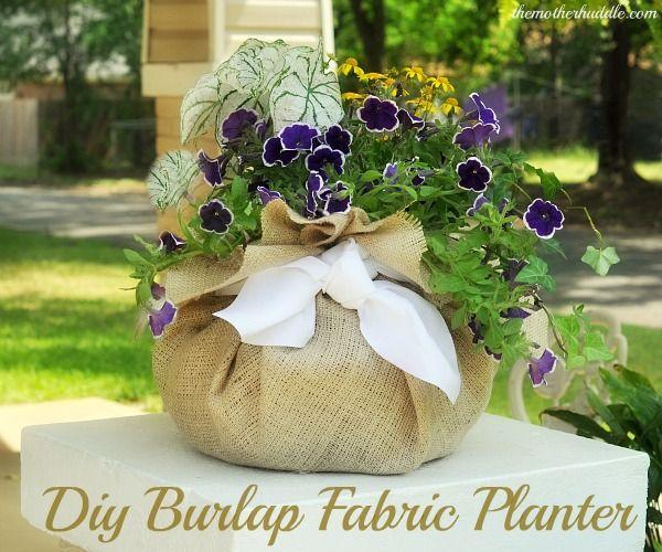 Diy Burlap Fabric Planter-Use burlap and a hanging pot liner to make your own Diy Fabric pot.