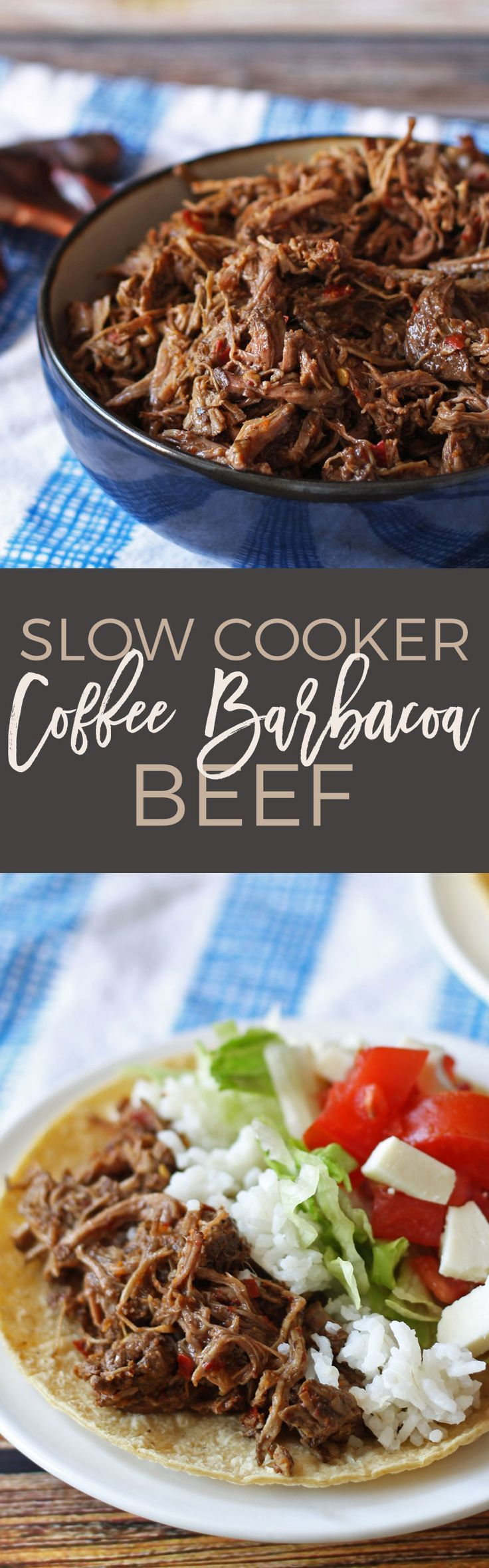 Make this slow cooker coffee barbacoa beef the next time you are in the mood for tacos, burritos or quesadillas! If you're looking for game day recipes, this is the perfect dinner! | http://honeyandbirch.com | slow cooker | crockpot | beef | barbacoa | chipotle | mexicana | authentic | tacos | recipe | recipes | tacos | burritos | bowl | how to make barbacoa | enchiladas | paleo | tailgating | super bowl | football