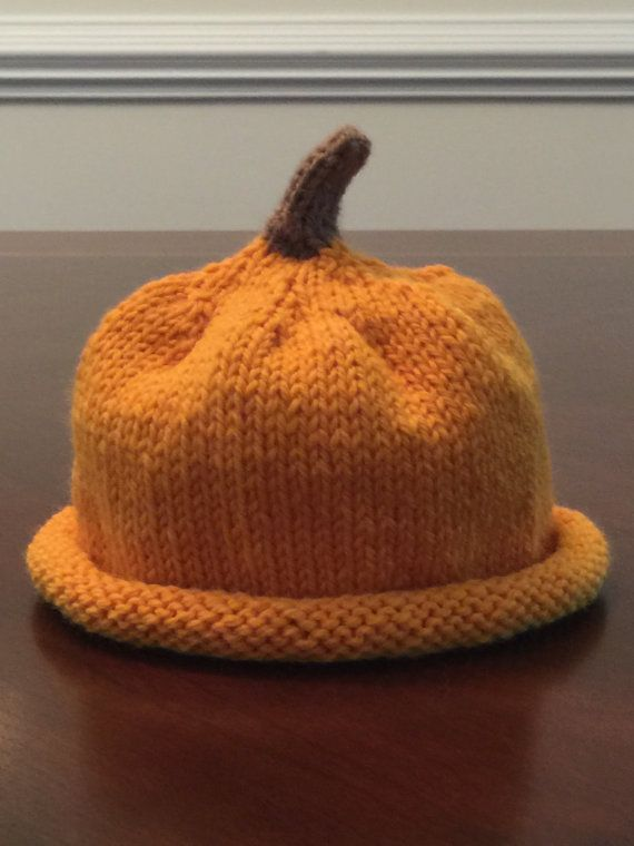 Ready To Ship Baby Shower Gift Pumpkin Hat Halloween by CatDKnits