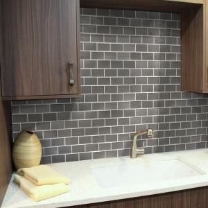 Stick-It Tiles, 11.25 in. x 10 in. Gun Metal Subway Adhesive Decorative Wall Tile (8-Pack), 27094 at The Home Depot - Mobile