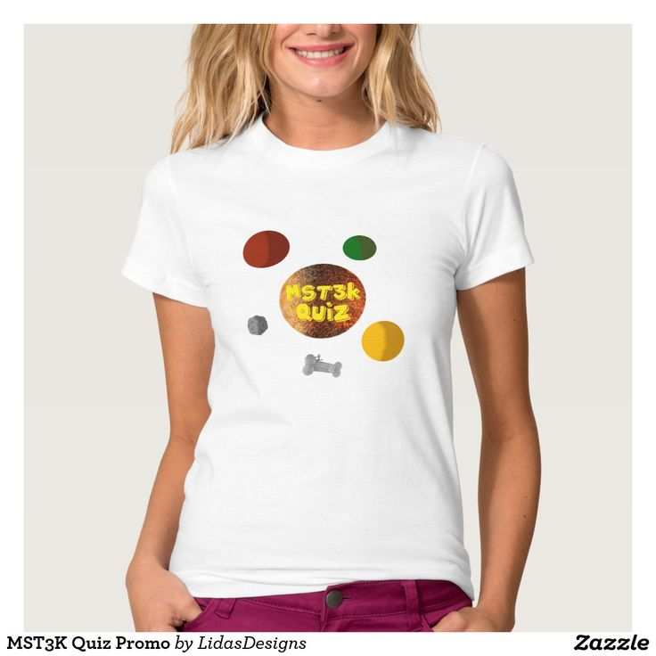 MST3K Quiz Promo Women's American Apparel Fine Jersey T-Shirt for the android application #cool #mst3k #humor #science #geek #nerd #awesome #quiz #mystery #theatre #3000