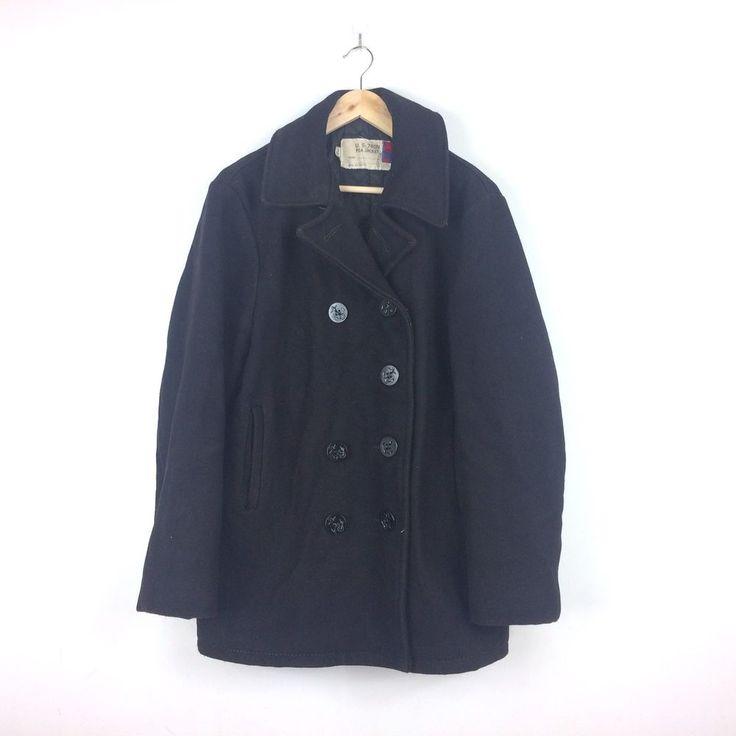 Vintage Schott Jacket U.S 740N Pea Coat Military Navy Anchor Button Size 38 Usa #SCHOTT #Military