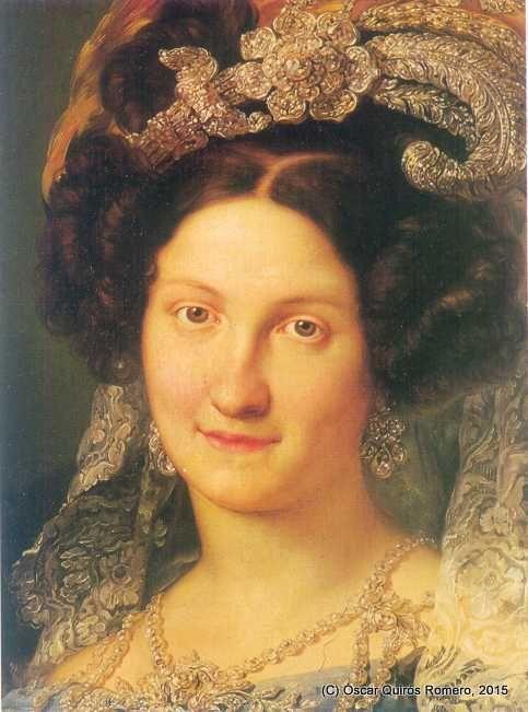 Retrato de S.S.M.M. la Reina regente Doña Maria Cristina de Borbón-Dos Sicilias. Óleo sobre lienzo (s. XIX). En la actualidad, el retrato de la Reina se encuentra expuesto en el Museo del Romanticismo de Madrid.